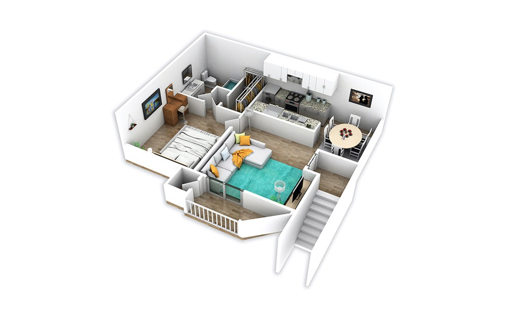 A3 - 1 bedroom floorplan layout with 1 bath and 728 square feet.