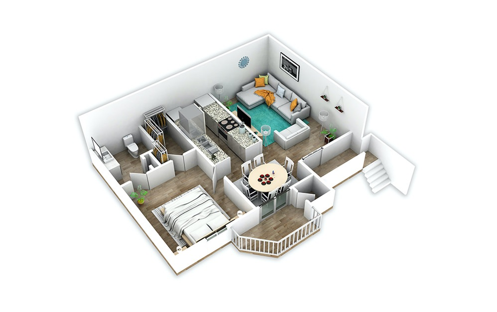 A2 - 1 bedroom floorplan layout with 1 bath and 722 square feet.