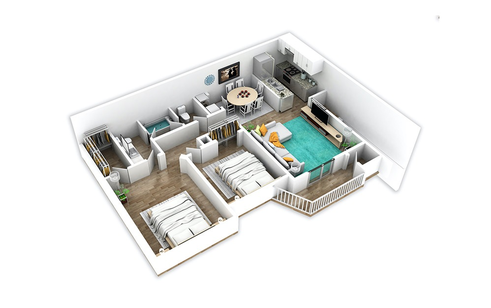 B1 - 2 bedroom floorplan layout with 1.5 bath and 918 to 973 square feet.