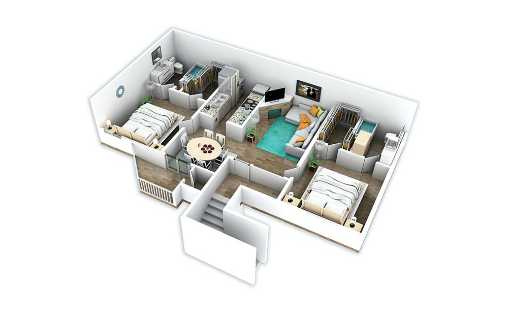 B2 - 2 bedroom floorplan layout with 2 baths and 920 square feet.