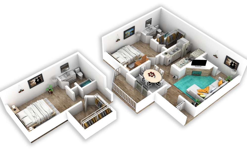 B3 - 2 bedroom floorplan layout with 2 baths and 932 square feet.