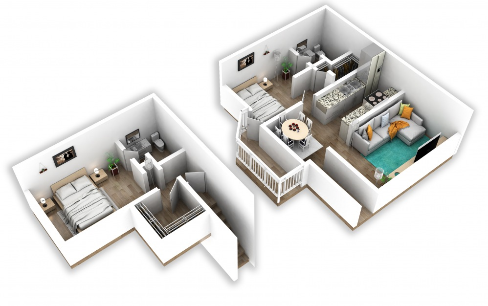 B6 - 2 bedroom floorplan layout with 2 baths and 1080 square feet.