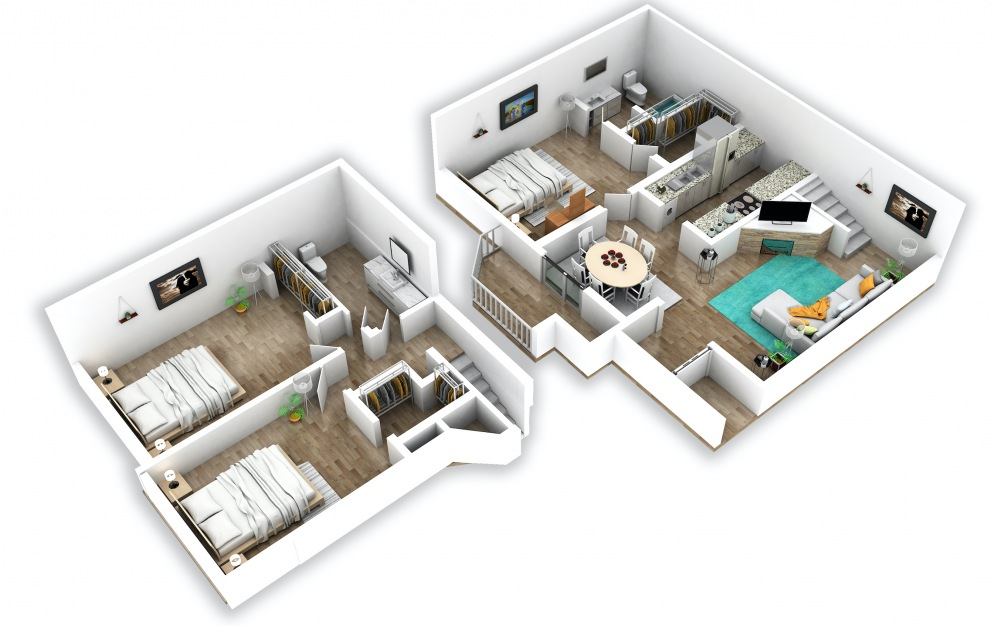 C1 - 3 bedroom floorplan layout with 2 baths and 1235 square feet.